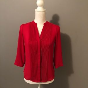 Red/Pink Button Down Quarter-Sleeves Blouse